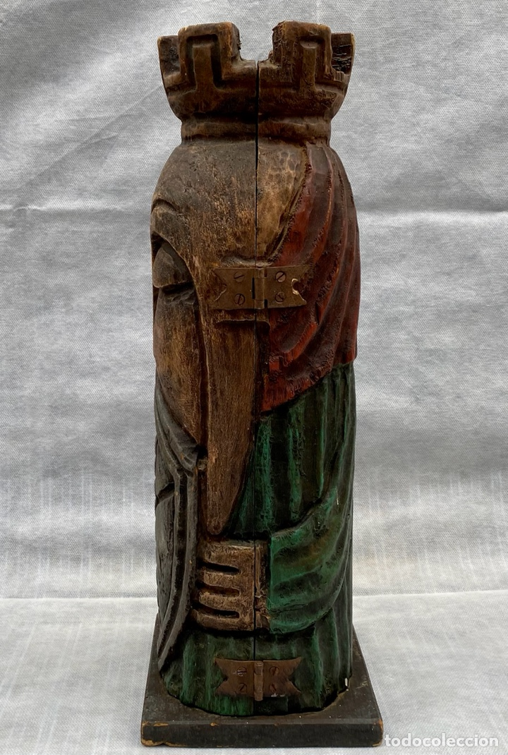 Antigüedades: Botellero o guarda botella de madera tallada antiguo - Foto 4 - 262642180