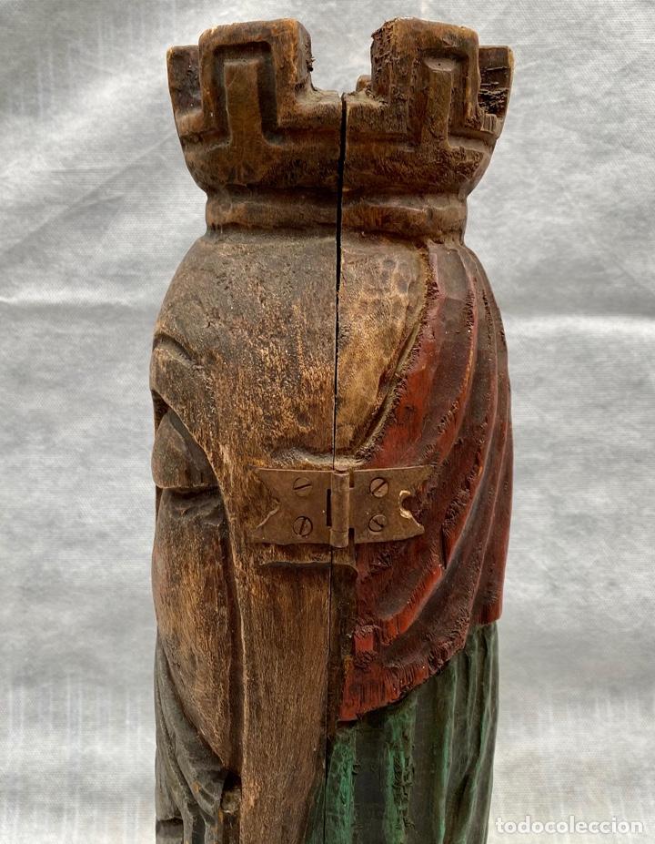 Antigüedades: Botellero o guarda botella de madera tallada antiguo - Foto 5 - 262642180