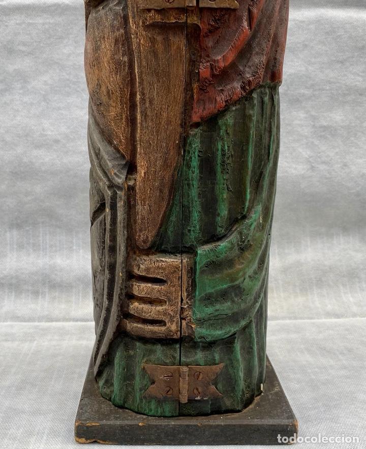 Antigüedades: Botellero o guarda botella de madera tallada antiguo - Foto 6 - 262642180