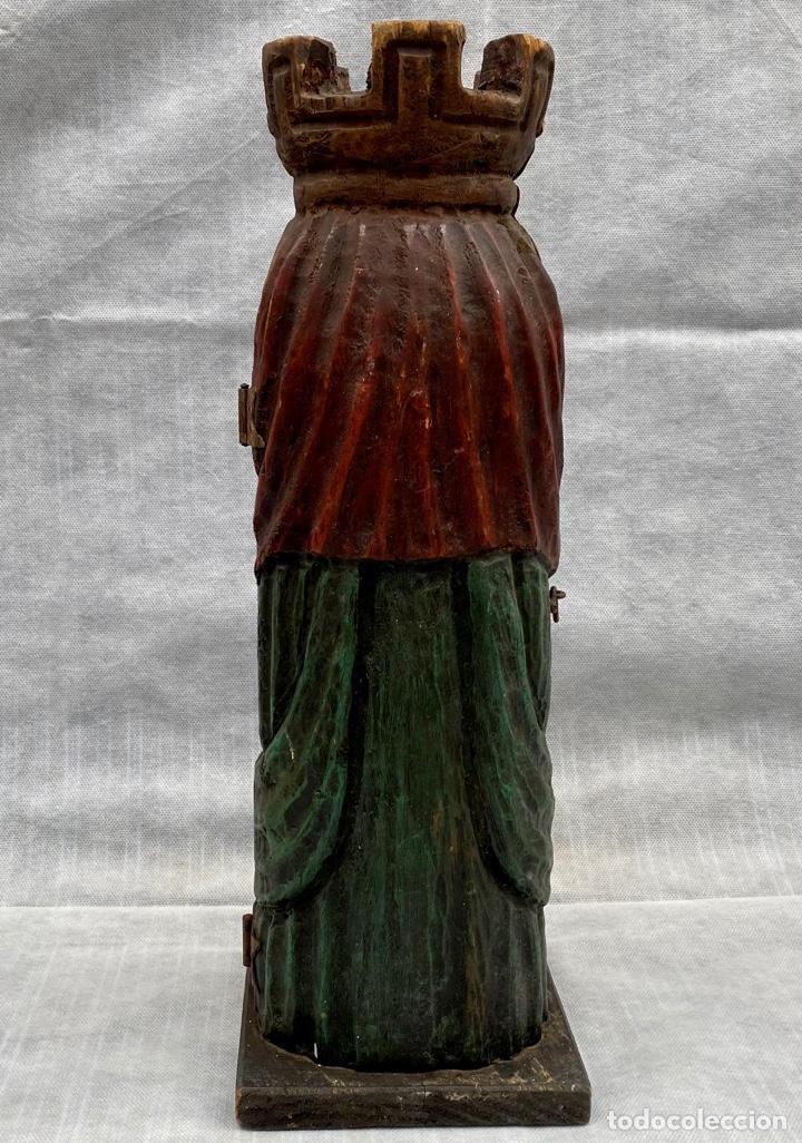 Antigüedades: Botellero o guarda botella de madera tallada antiguo - Foto 7 - 262642180
