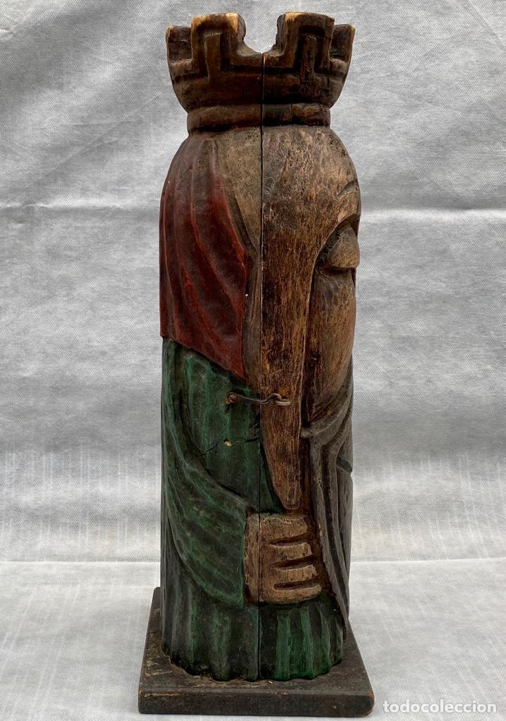 Antigüedades: Botellero o guarda botella de madera tallada antiguo - Foto 10 - 262642180
