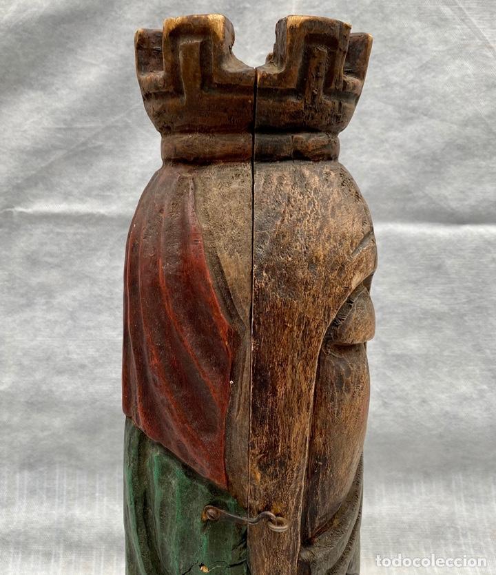 Antigüedades: Botellero o guarda botella de madera tallada antiguo - Foto 11 - 262642180