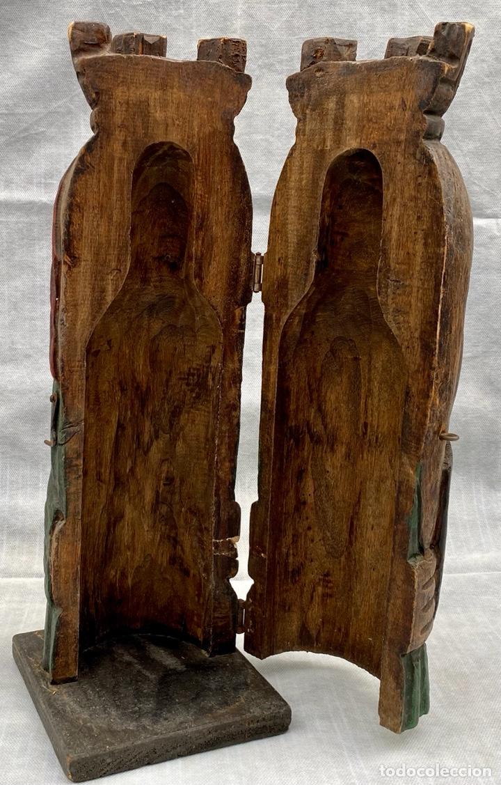 Antigüedades: Botellero o guarda botella de madera tallada antiguo - Foto 14 - 262642180
