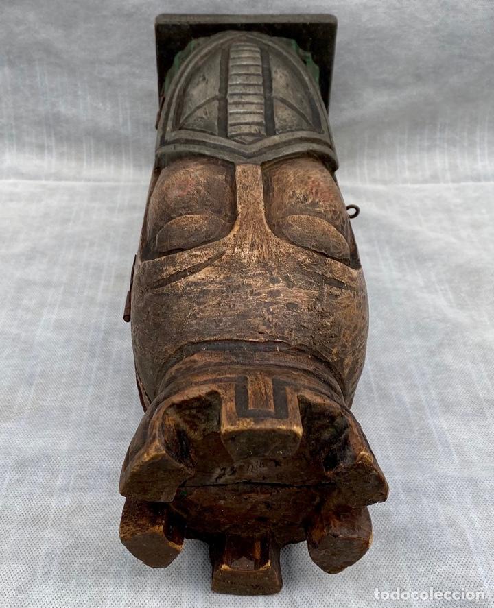 Antigüedades: Botellero o guarda botella de madera tallada antiguo - Foto 18 - 262642180