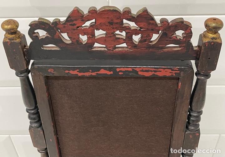 Antigüedades: ANTIGUO ESPEJO DE SOBREMESA MADERA LACADA Y NÁCAR - Foto 38 - 262643985