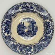 Antigüedades: ANTIGUO PLATO HONDO CERAMICA PICKMAN AÑOS 40 - SERIE VISTAS ESTAMPADO AZUL. Lote 262646115