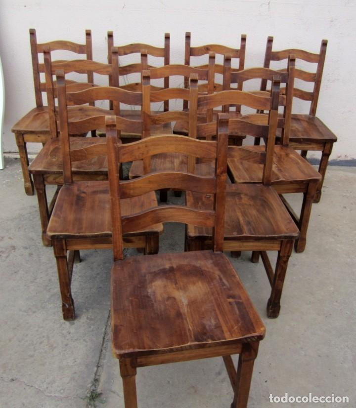 Antigüedades: 10 sillas rusticas de madera SXX - Foto 2 - 262737330