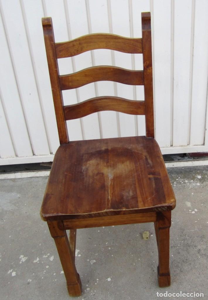 Antigüedades: 10 sillas rusticas de madera SXX - Foto 4 - 262737330