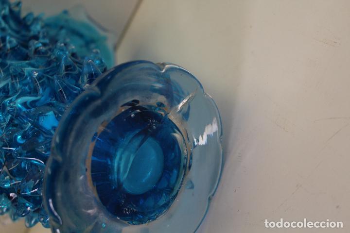Antigüedades: centro frutero cristal azul - Foto 2 - 262843255