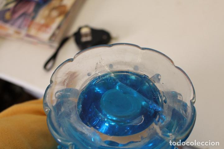 Antigüedades: centro frutero cristal azul - Foto 3 - 262843255