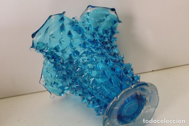 Antigüedades: centro frutero cristal azul - Foto 6 - 262843255