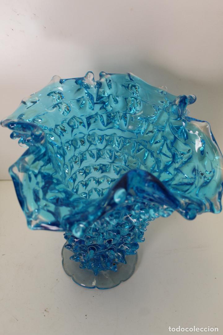 Antigüedades: centro frutero cristal azul - Foto 7 - 262843255