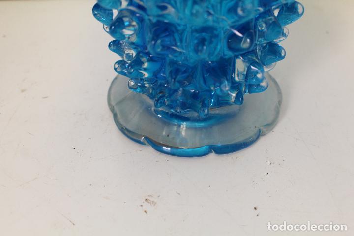 Antigüedades: centro frutero cristal azul - Foto 10 - 262843255