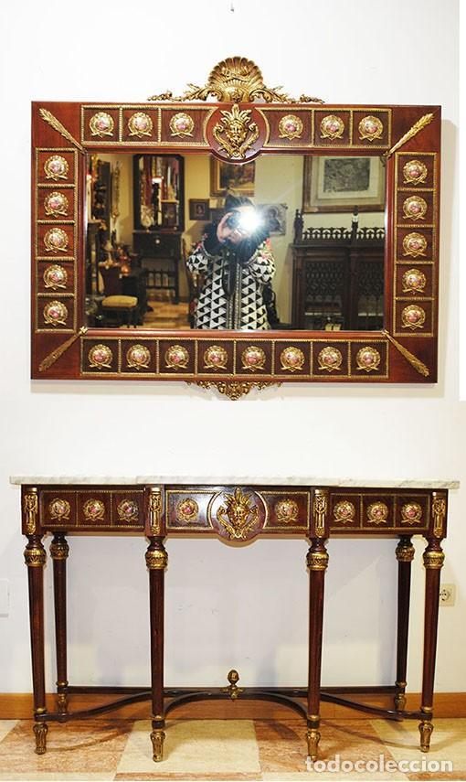 CONSOLA Y ESPEJO ESTILO IMPERIO (Antigüedades - Muebles Antiguos - Espejos Antiguos)