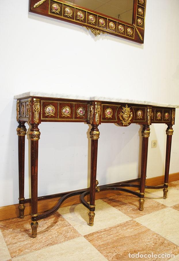 Antigüedades: CONSOLA Y ESPEJO ESTILO IMPERIO - Foto 8 - 262864270