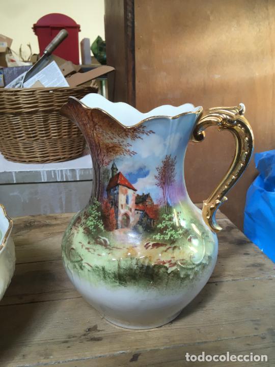 Antigüedades: Jarra de agua para lavabo y palangana en ceramica, gran tamaño, 30 cms alto, 38 x 12 cms - Foto 2 - 262886340