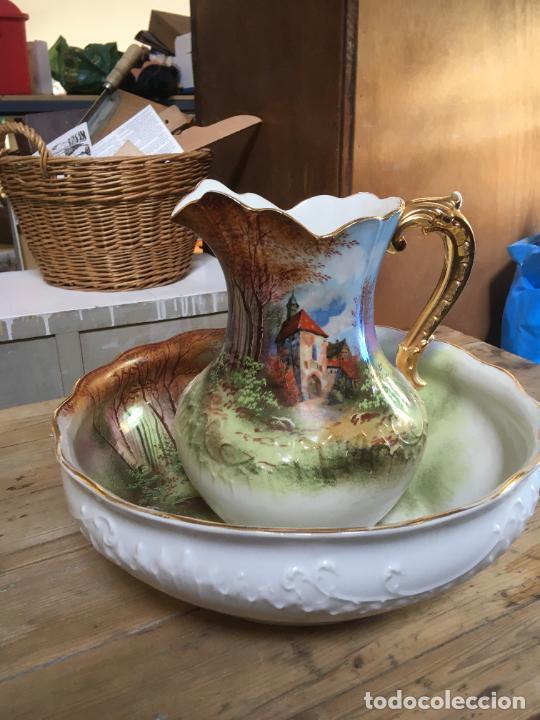 Antigüedades: Jarra de agua para lavabo y palangana en ceramica, gran tamaño, 30 cms alto, 38 x 12 cms - Foto 4 - 262886340