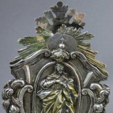 Antigüedades: BENDITERA DE PLATA Y PLATA DORADA VIRGEN INMACULADA MARCAS DEL PLATERO SIGLO XVIII. Lote 262896160