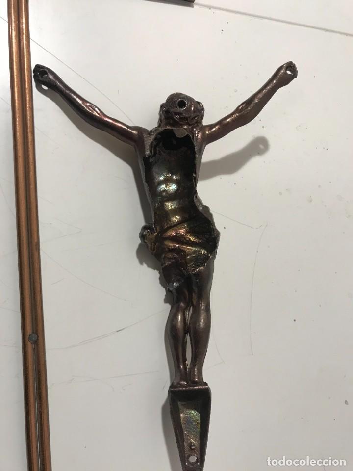 Antigüedades: CRUZ Y JESUCRISTO EN COBRE - Foto 3 - 262912130