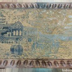 Antigüedades: CAJA GRANDE, ARCA O COFRE EN MADERA CON PIROGRABADO?. Lote 262916530
