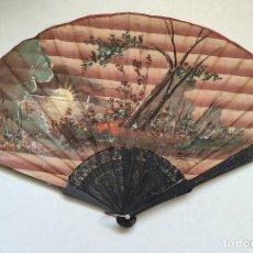 Antigüedades: PERICÓN JAPONÉS. PAÍS DE SEDA PINTADO A MANO. VARILLAJE DE MADERA TROQUELADO.. Lote 262950520