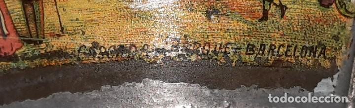 Antigüedades: BOTIJO , ACEITERA DE HOJALATA COMPLETO , MANUFACTURA CATALANA , CON LITOGRAFIA AÑOS 20 - Foto 6 - 262955825