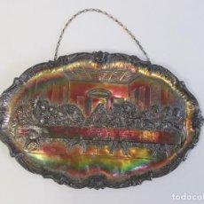 Antigüedades: PRECIOSA BANDEJA DE ALPACA, LA ÚLTIMA CENA. 46X29 CM.. Lote 263004015
