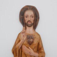 Antigüedades: BONITA DECORACIÓN RELIGIOSA PARA PARED, SAGRADO CORAZÓN. 33 CM.. Lote 263005700