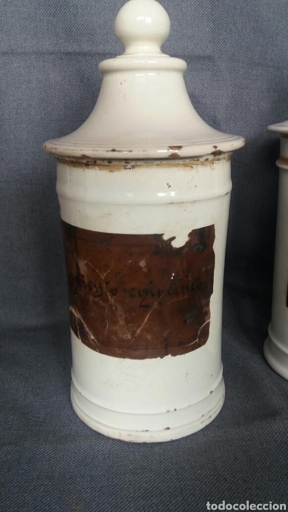 Antigüedades: Lote de dos albarelos de farmacia del siglo XIX - Foto 2 - 263007095