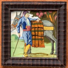 Antigüedades: AZULEJO VALENCIANO. COSTUMBRISTA. ENMARCADO. SIGLO XX. Lote 263010900