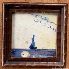 Antigüedades: AZULEJO VALENCIANO S. XIX. BARCO. ENMARCADO. Lote 263011900