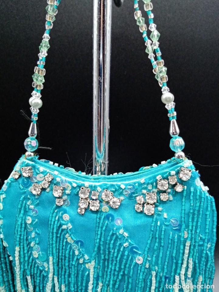 Antigüedades: Bolso azul con abalorios - Foto 2 - 263012645