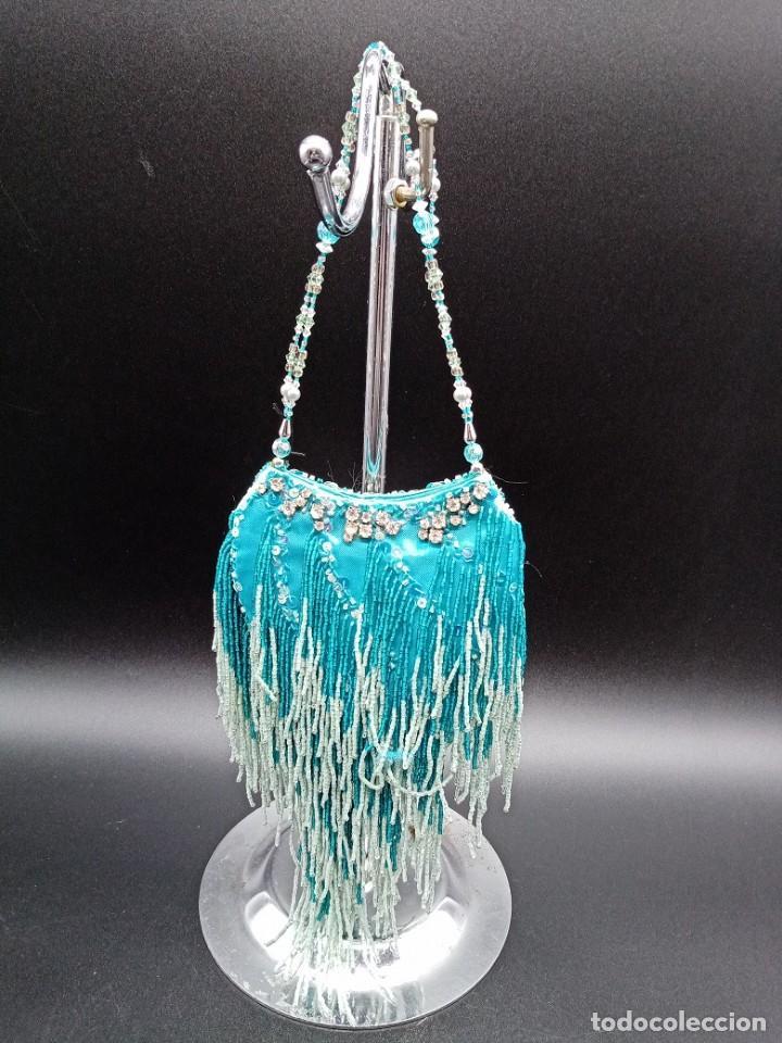 Antigüedades: Bolso azul con abalorios - Foto 3 - 263012645