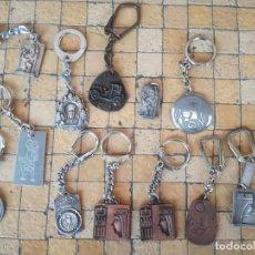 Antigüedades: LOTE 13 LLAVEROS MEDALLAS MONTEPIO SAN CRISTOBAL CHOFERES BARCELONA VIRGEN MONTSERRAT ALGUNO PLATA. Lote 263030120