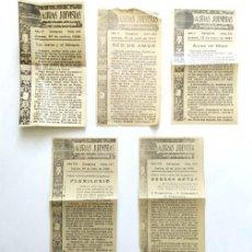 Antigüedades: LOTE DE CINCO AURAS JUEVISTAS. HOJITA OFICIAL DE LOS JUEVES. ZARAGOZA. AÑOS, 1936, 1937 Y 1939. Lote 263031950
