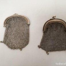 Antigüedades: PAREJA DE 2 MONEDERO DE MALLA , ANTIGUO,. Lote 263073815