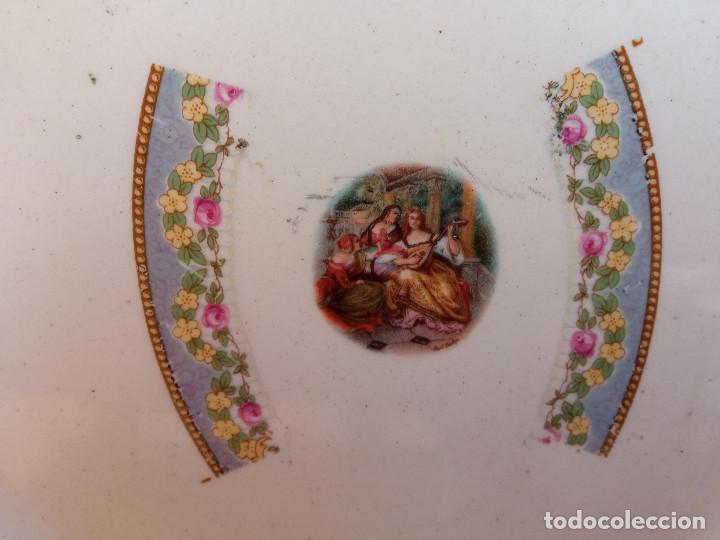 Antigüedades: ESCASA PAREJA DE ANTIGUOS PLATOS DE LOZA PORCELANA SAN JUAN, MIDEN 24 CM DIÁMETRO. - Foto 4 - 263079970