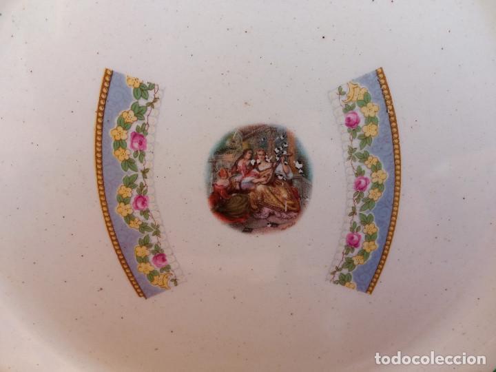Antigüedades: ESCASA PAREJA DE ANTIGUOS PLATOS DE LOZA PORCELANA SAN JUAN, MIDEN 24 CM DIÁMETRO. - Foto 7 - 263079970