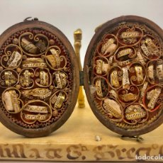 Antigüedades: RELICARIO OVAL, ABATIBLE, CON 38 RELIQUIAS. MADERA. S.XIX. Lote 263158195