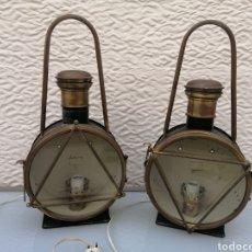 Antigüedades: LOTE PAREJA FAROLES LOCOMOTORA DELANTEROS ANTIGUOS ELECTRIFICADOS VINTAGE LEER FAROL TREN. Lote 263179995