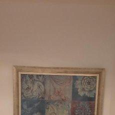 Antigüedades: CUADRO ENMARCADO DE GRAN TAMAÑO. MUY ALEGRE Y MODERNO. MUY BONITO. OCASIÓN. TAMAÑO 71 X 71 CM.. Lote 263180235