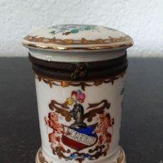 Antigüedades: BOTE DE BICARBONATO - PORCELANA PINTADA - PRINCIPIOS 1900.. Lote 263193590