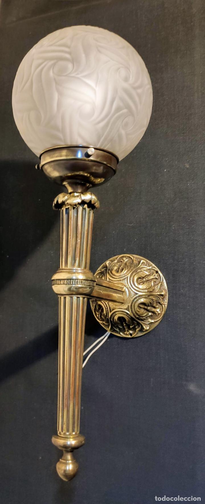 Antigüedades: EXCELENTE APLIQUE ESTILO IMPERIO, LUZ, ,LAMPARA, DE BRONCE - Foto 6 - 263234125