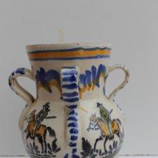 Antigüedades: JARRA DE CUATRO ASAS DE CERAMICA DE TRIANA. Lote 263234135