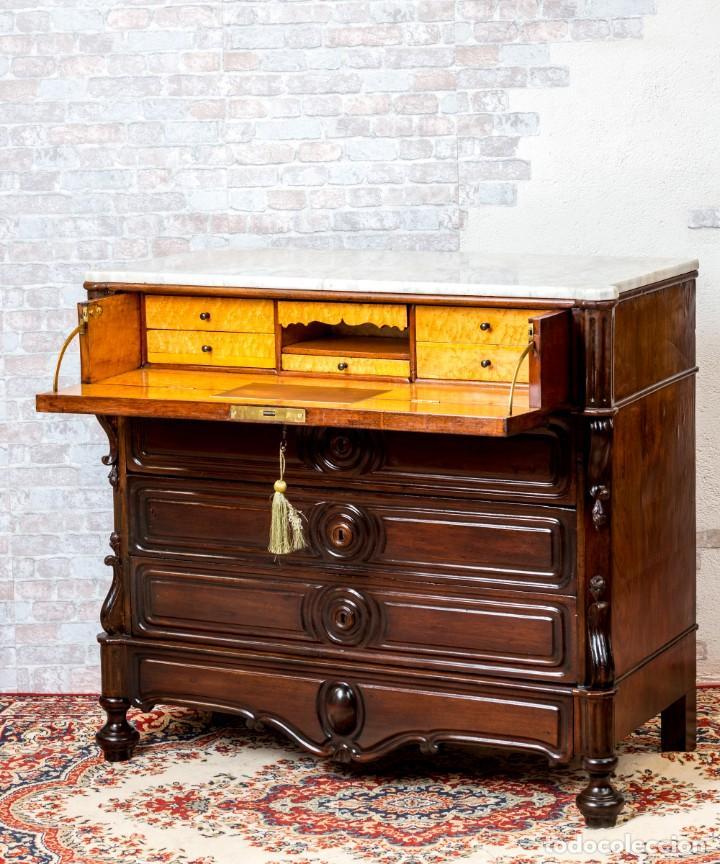 Antigüedades: Cómoda Bureau Antigua - Foto 2 - 263253140