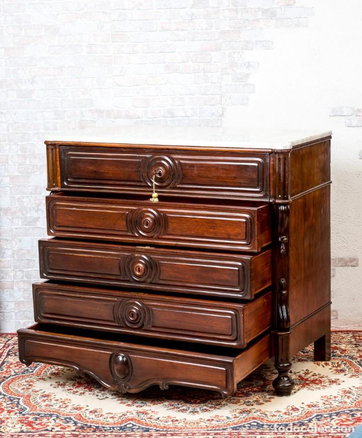 Antigüedades: Cómoda Bureau Antigua - Foto 5 - 263253140