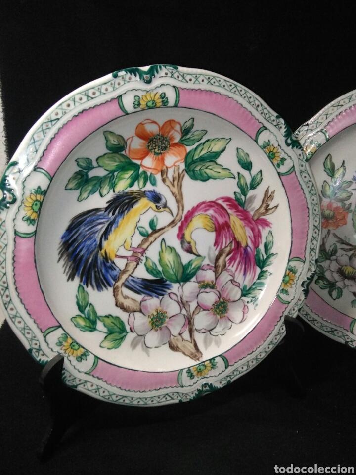 Antigüedades: Precioso platos principios de siglo XX ,ceramica pintado a mano ,esmaltes de colores - Foto 3 - 263265270
