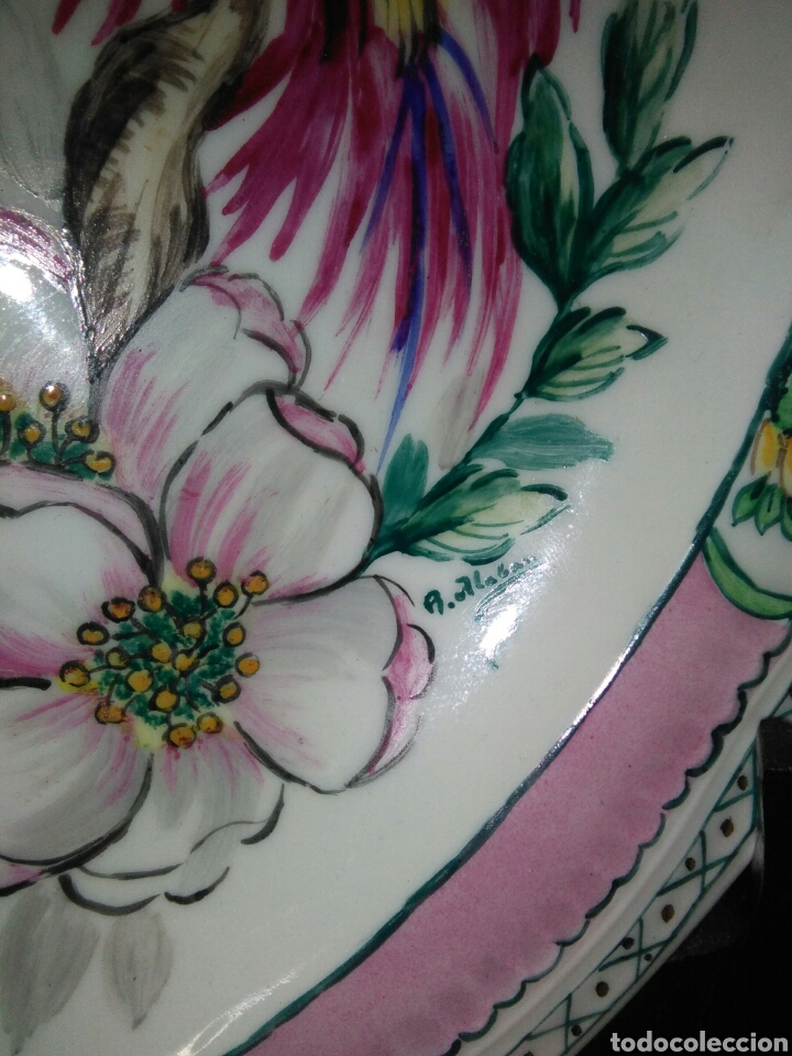 Antigüedades: Precioso platos principios de siglo XX ,ceramica pintado a mano ,esmaltes de colores - Foto 6 - 263265270