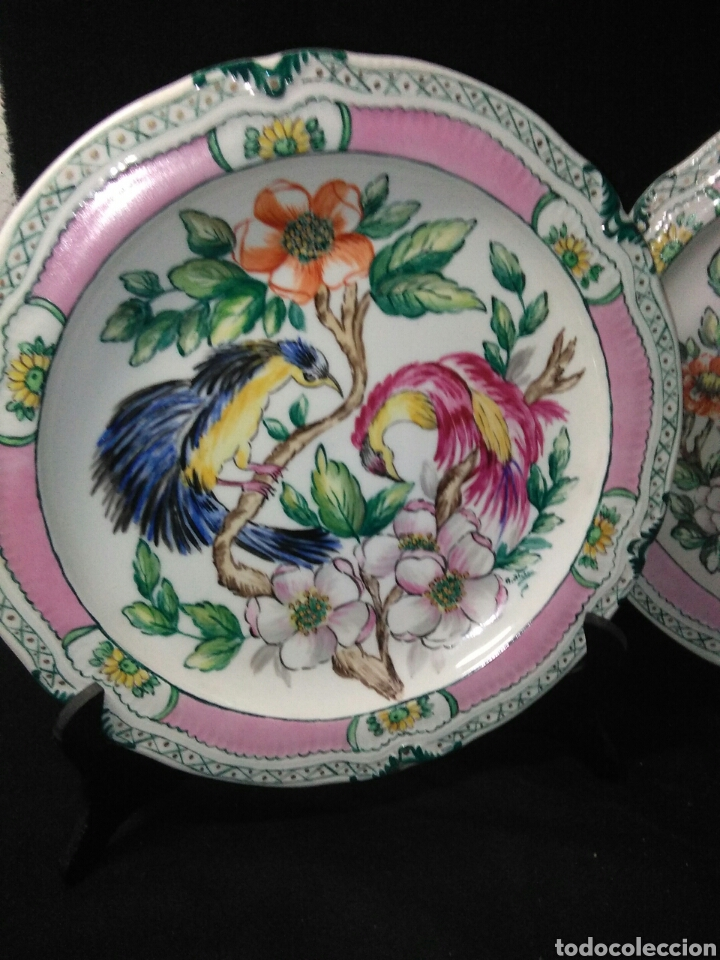 Antigüedades: Precioso platos principios de siglo XX ,ceramica pintado a mano ,esmaltes de colores - Foto 7 - 263265270