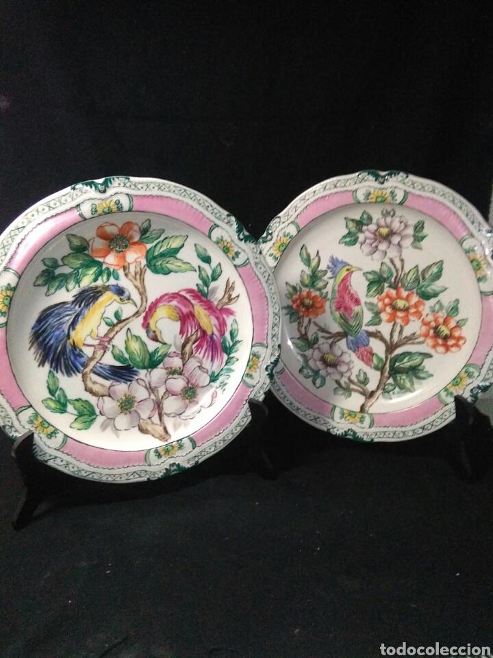 Antigüedades: Precioso platos principios de siglo XX ,ceramica pintado a mano ,esmaltes de colores - Foto 10 - 263265270
